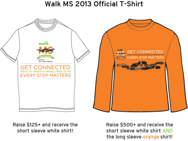 Fundraising prizes national ms society for T shirt fundraiser site